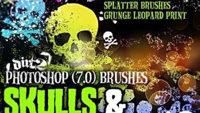 Photo of Grunge and Hand Drawn Skull-Splatter Brushes for Photoshop