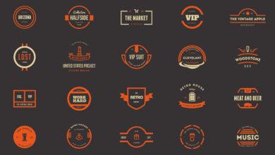 Photo of elements 20 vintage logos badges