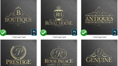 Photo of elements heraldic crest logos set 1
