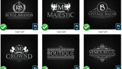 Photo of elements heraldic crest logos set 2