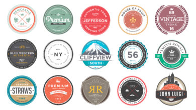 Photo of elements retro colorful badges and logos