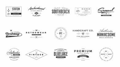 Photo of elements vintage logos set 1