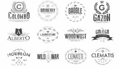 Photo of elements vintage logos set 2