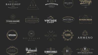 Photo of elements vintage logos set 5