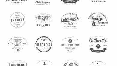 Photo of elements vintage logos set 4