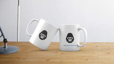 Two Mugs Table Mockup Free Download Picgiraffe.com