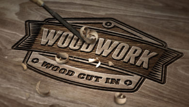 Wood Emboss Elements Photo Realistic Logo Mockup Free Download Picgiraffe.com