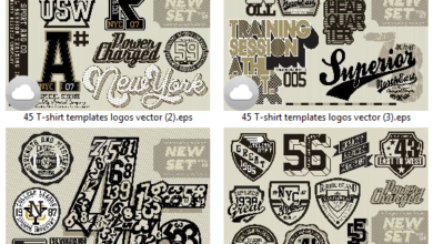 Photo of 45 T-shirt templates logos vector