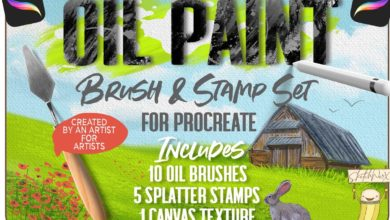 Photo of OIL PAINT BRUSH AND STAMP FOR PROCREATE FREE DOWNLOAD