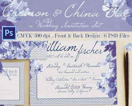 chevron china blue wedding invitation 12977830 free download picgiraffe.com