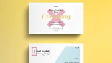 geometric pastel business card layout with gold accent 264617863 free download picgiraffe.com